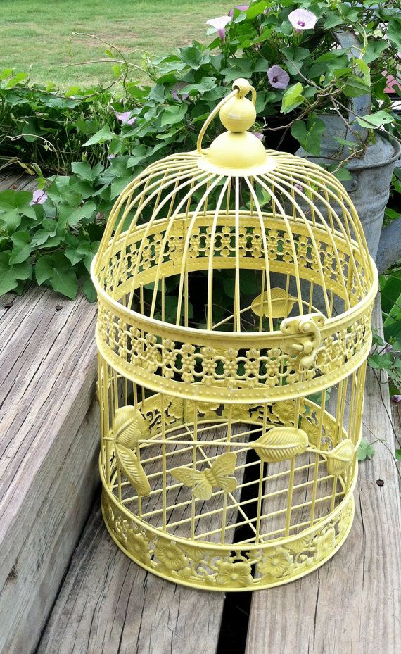 shabby chic soft yellow hanging bird cage cottage chic round bird cage country french ornate. Black Bedroom Furniture Sets. Home Design Ideas