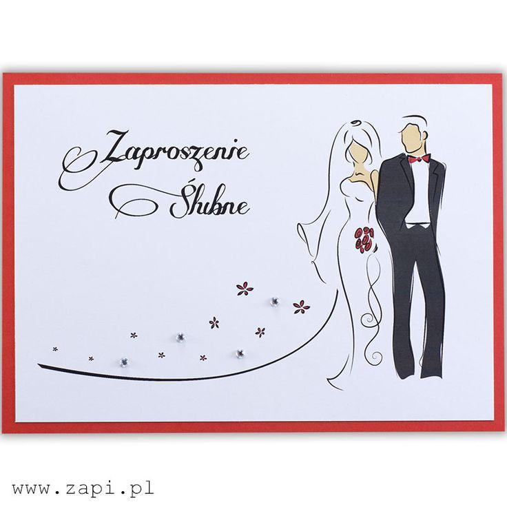 Nowoczesne i eleganckie zaproszenie ślubne z czerwoną ramką
