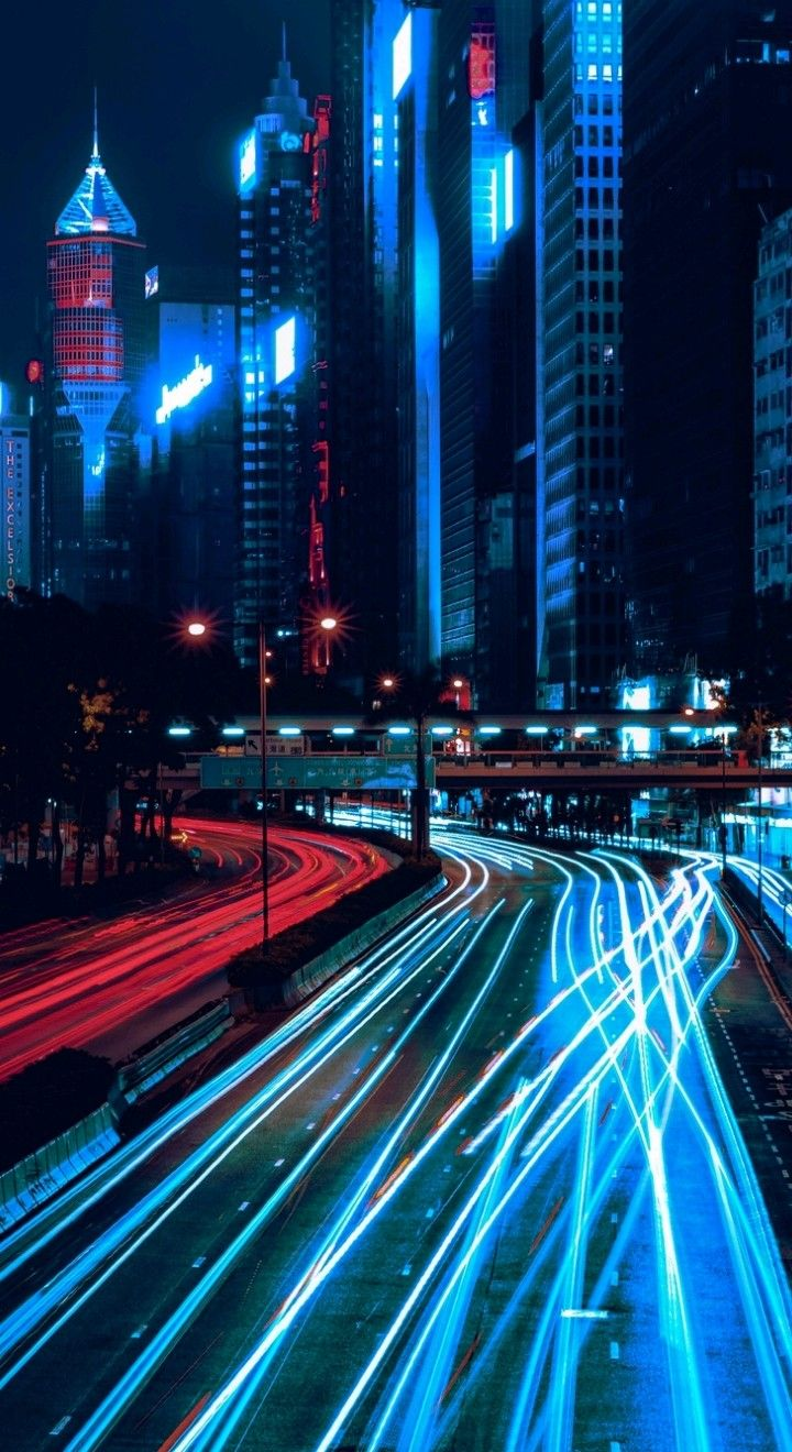 Wallpaper Of Long Exposure Night Photography View Of Vehicle Headlamps Light Trails Background Wallpaper Photography Wallpaper City Wallpaper City Landscape