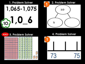 Math Problem Solver Game (64 Task Cards)1. Each Cards has a value of 1 10 or 100 and kids add their total as they get problems right2. Great for fast finishers to play against one another.Place ValueCounting CoinsPatterns in NumbersEven/OddSkip CountingNumber Lines