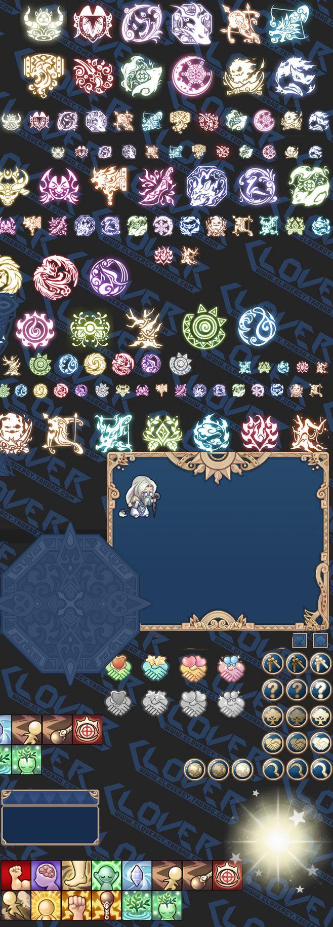 游戏美术资源 UI设计素材 Q版日系可爱UI界面 图标 光效 合集PNG