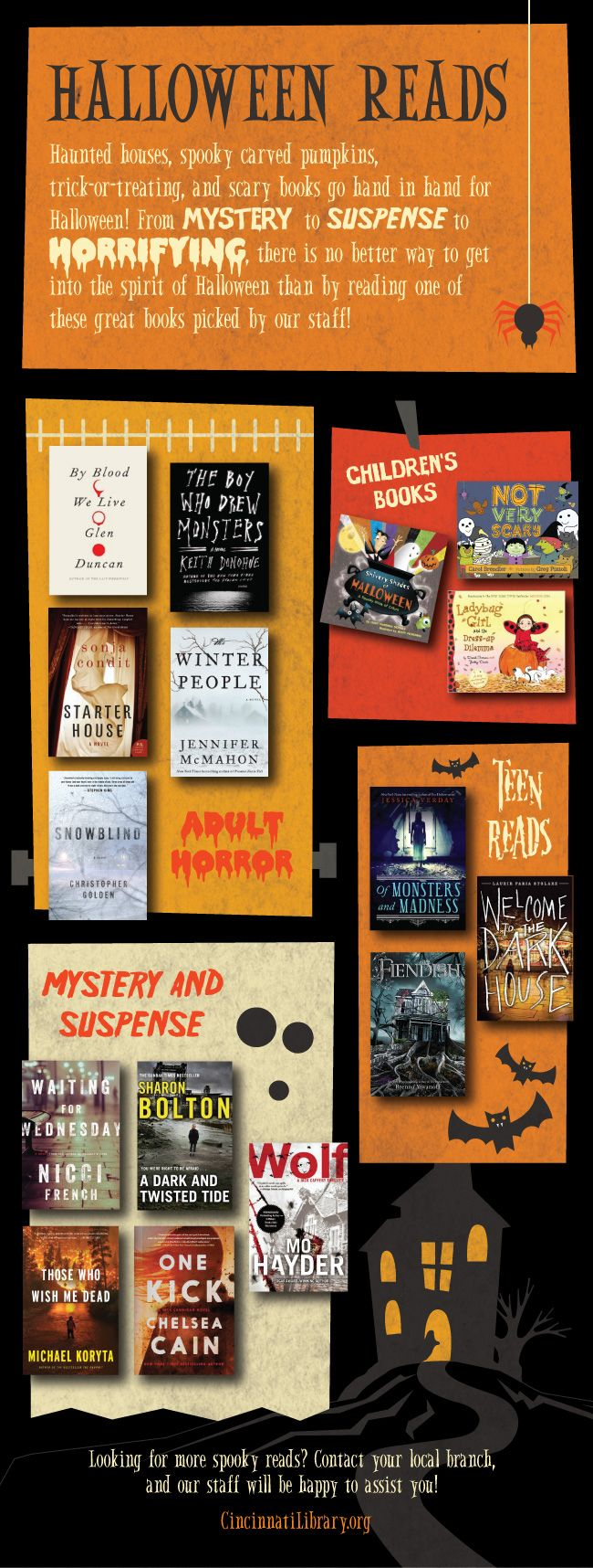 Halloween Reads! From suspenseful to spooky to downright terrifying, get in the spirit of Halloween with these great books picked by our Librarians!