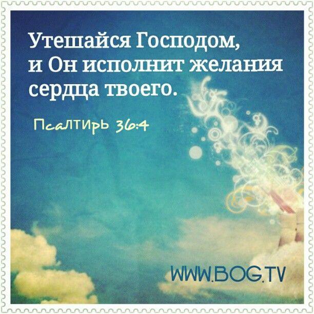 """Пс 36:4 """"Утешайся Господом, и Он исполнит желания сердца твоего"""". Побудь с Богом наедине ♥ Богтв"""