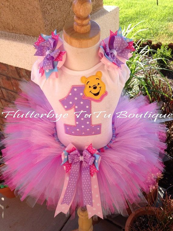 Happy Birthday Winnie the Pooh TuTu Set in Baby by flutterbyetutu, $ Purple and pink