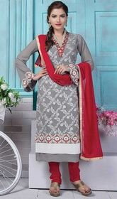 Gray Color Georgette Embroidered Churidar Suit