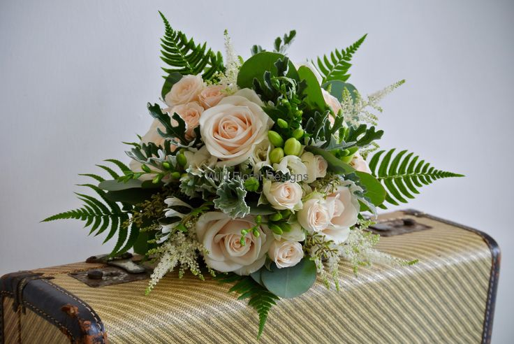 Woodland wedding flowers, bridesmaids bouquet, Vendela Roses, Ferns, peach Stocks, Astilbe and Freesia.