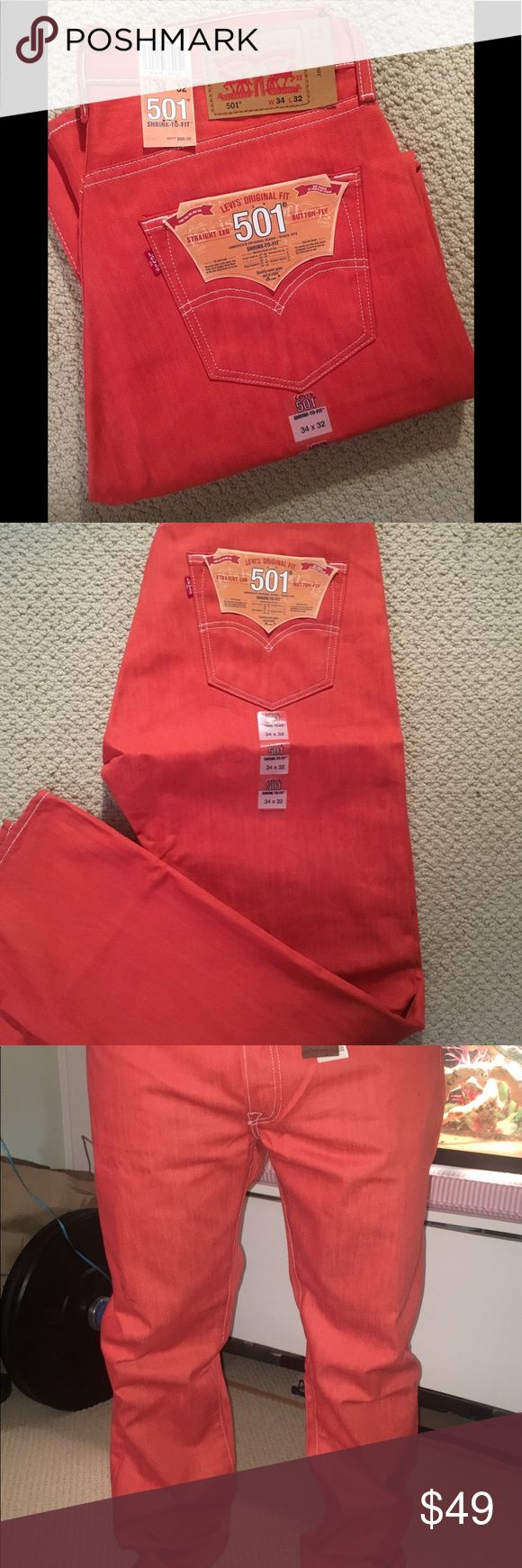 Men's Levi's Raw denim jeans NWT Check out this color!!! What?!?!? These jeans will have every head turning!! Love love love these jeans!!!  34wx32l button fly with straight leg! Won't last! Brand new with tags levis Jeans Straight