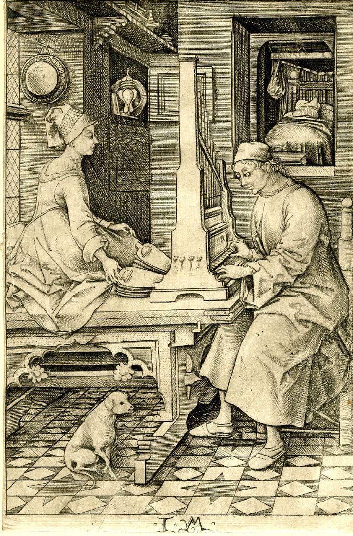 Israhel van Meckene,m(1440 - 1503).  What a hennin looked like on normal people, perhaps.