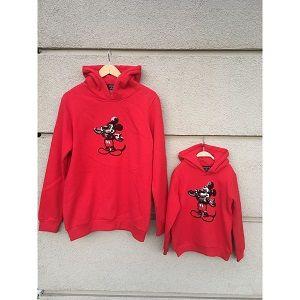 Anne Kız Mickey Mouse Nakışlı Kırmızı Sweat Shirt, doğum günü elbiseleri, doğum günü kıyafetleri