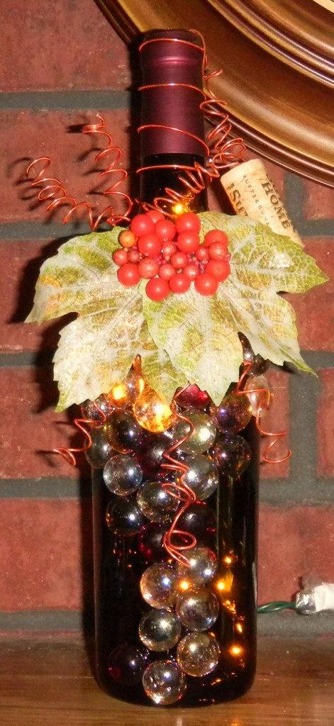 Best 222 wine bottle lights images on pinterest diy and for Wine bottle light ideas
