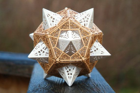 DIY Model Kit - Sacred Geometry    This amazing geometric form is a Stellated Dodecahedron inside a Dodecahedron. Each face is intricately