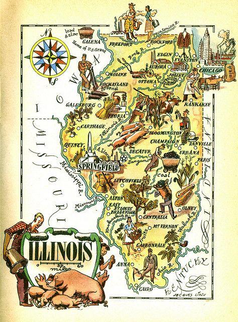 Illinois Map By Maralina Via Flickr