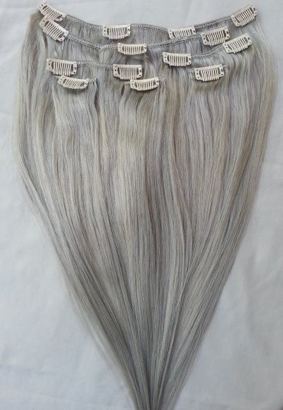 100% Human Hair Extensions 7Pcs Clip in Ash Silver Gray (Beige Blonde Base) in Clothing, Shoes & Accessories, Women's Accessories, Wigs, Extensions & Supplies | eBay