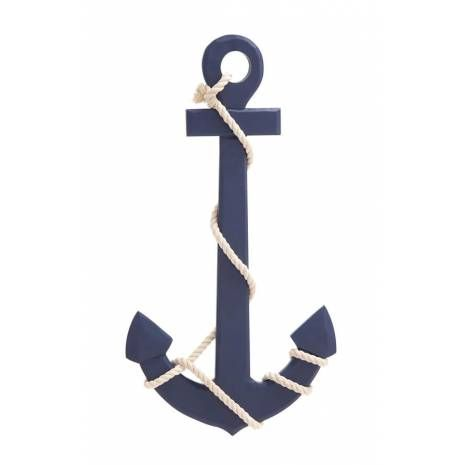 Navy Blue Wooden Wall Anchor with Rope Nautical Decor  Add this wall anchor to any wall of your choice in your dwelling to cast a nautical spell. This anchor is polished in navy blue color palette and is crafted of durablewood.Navy Blue Wooden Wall Anchor with Rope Nautical Decorfeatures a white rope tied. The blue finish gives it a fresh appeal. Mount it on any wall as it requires just one nail.