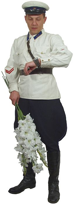 1935-1943 Soviet Red Army cavalry officers' white summer service uniform.