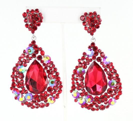 Red earrings | red pageant earrings | earrings | 3.25 inches long and $32 shipped. Only at L&M Bling | www.LMBling.com