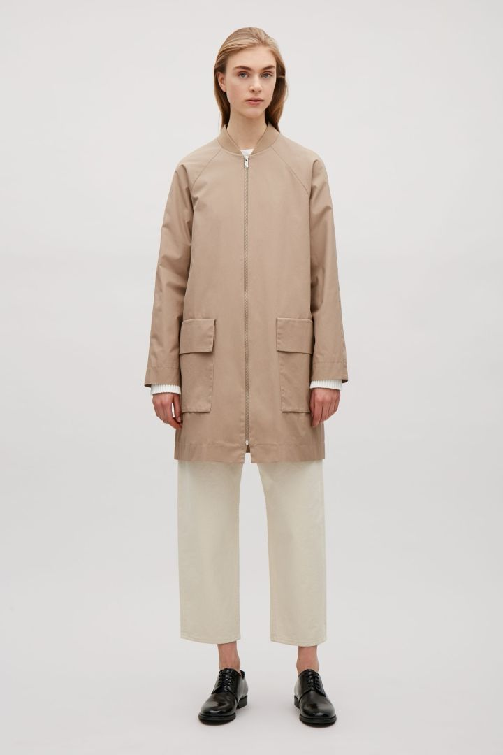 COS image 6 of Coat with ribbed neckline in Beige