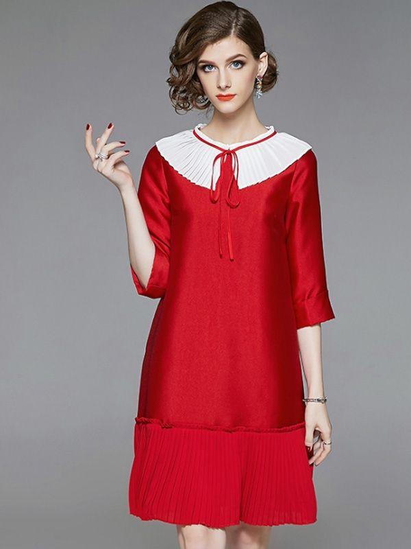 bdc614dc3752 Contrast Solid Color Color Block O-Neck Seven-Tenths Sleeves Mini Dresses in  2019 | Mini dresses | Mini dress with sleeves, Dresses, Tunic tops