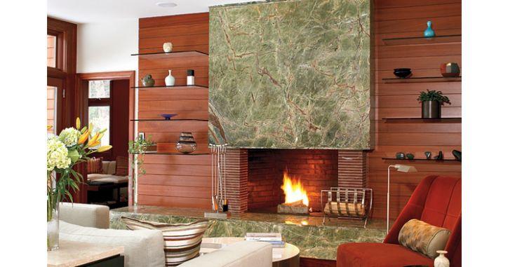 Отделка камина мрамором Bidasar Green. Green Marble fireplace - contemporary design. http://www.jet-stone.ru/izdelija/zakazat-kaminy-iz-mramora-mramornye-kaminy-na-zakaz