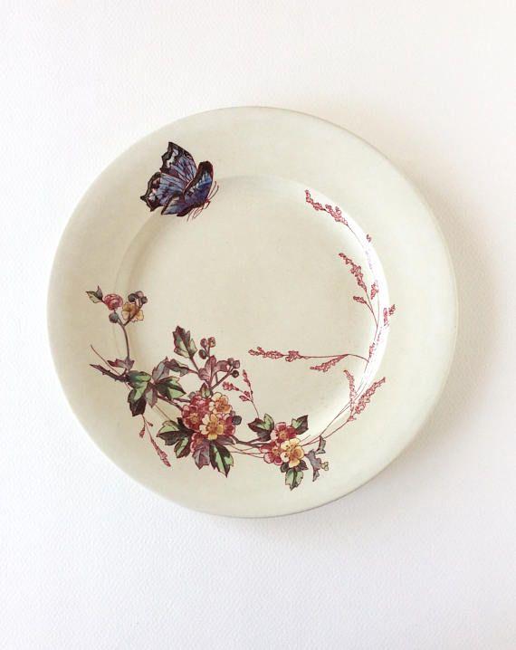 Transferware. Antique plate by Jules Veillard. Ironstone