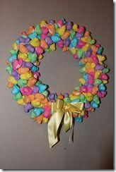 Easter Peep Wreath.  Cute.: Wreaths Tutorials, Easter Recipes, Diy Easter, Easter Crafts, Peeps Wreaths, Front Doors, Easter Wreaths, Easter Peeps, Peeps Easter