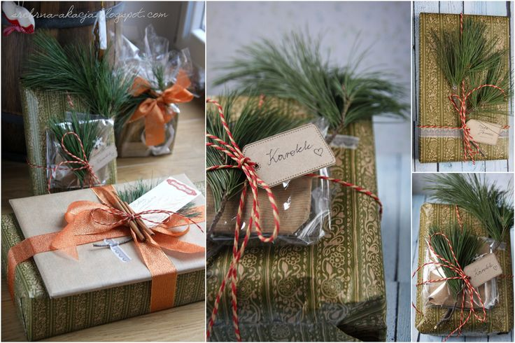 Gift wrapping idea. How to wrap a present with recycled paper, red ribbon, cinnamon and a branch.