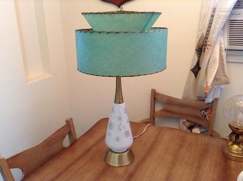 101 best 1950s lamps images on pinterest lamps vintage lamps and vintage 1950s mid century modern green lamp and fiberglass lamp shade 2 tier ebay mozeypictures Gallery