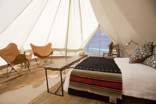 Tent via @Apartment Therapy: Glamping, In Style, Idea, Blanket, Shelters, Luxury Camps, Outdoor, Perfect Bedrooms, Canvas Tent
