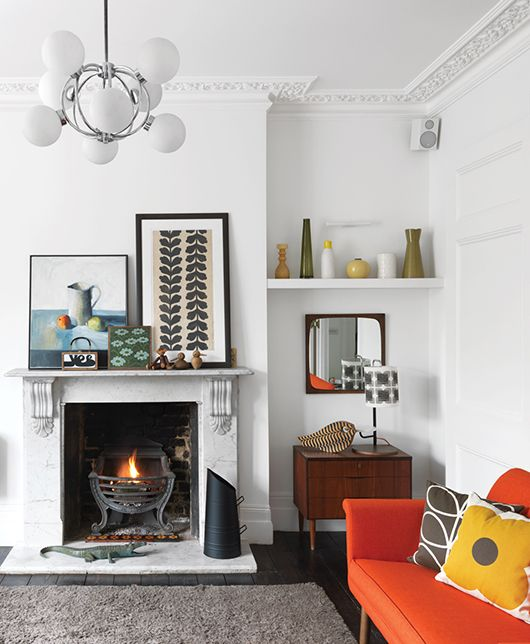 orla kiely's modern abode / dwell Loving white walls ATM. With pops of colour from accessorising