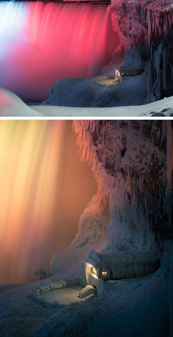 Frozen Niagara Falls At Night Illuminated By Colorful Lights
