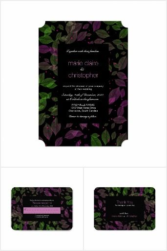 Green Purple Pastel Leaves Fall Wedding Romantic