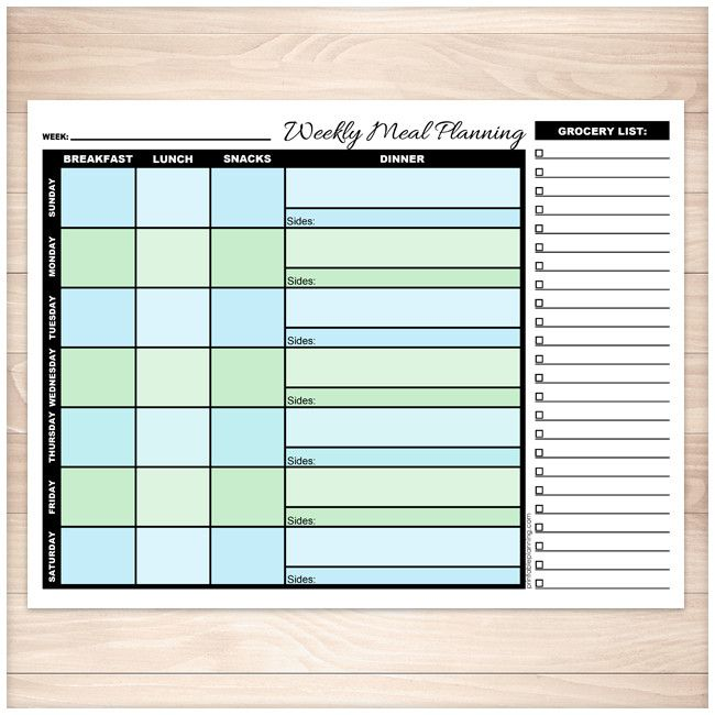 Blue & Green Weekly Meal Planning Page with Grocery List - Printable