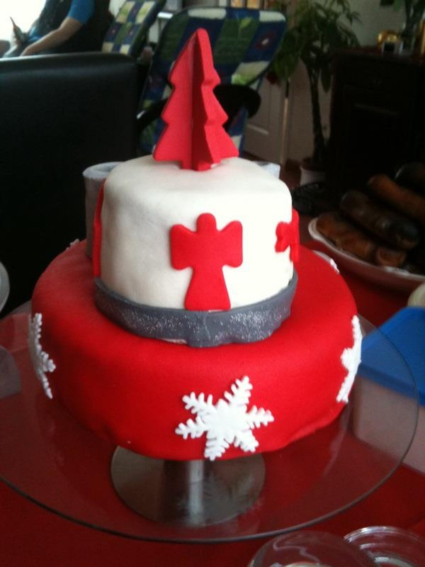 Christmas Cake Moscovisch With Homemade Ercream Topping And Decorations All Made Of Marzipan