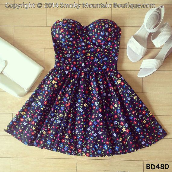 Wild Flower Floral Bustier Dress with by SmokyMtnBoutique on Etsy, $34.95