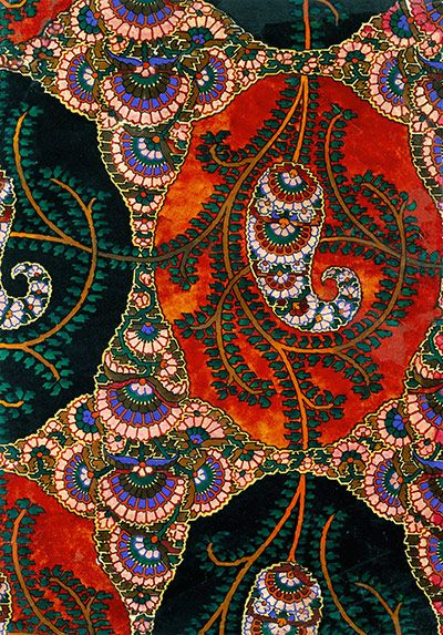 The New Oxford Dictionary defines   paisley as 'a distinctive intricate pattern of curved, feather-shaped figures based on a pine cone design from India' .  This paisley shawl is believed to be from 19th century England