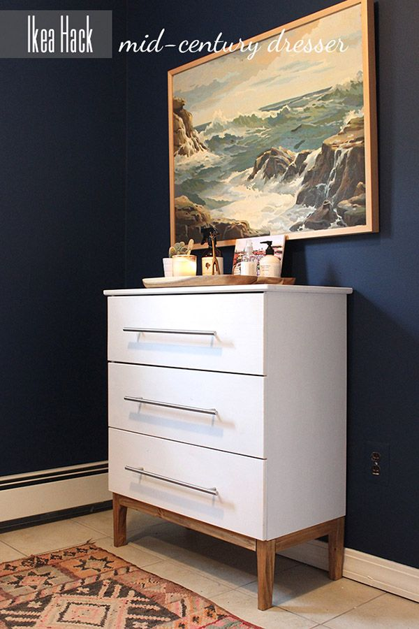 With a simple new base and some fabulous hardware Undeclared Panache transforms this plain dresser into a Mid Century Modern Dream! DIY waiting for you to put your own spin on it!