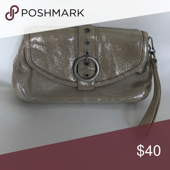 Small shiny leather evening bag Coach small shiny leather pearl evening bag with baby blue interior and wrist strap.  Like new condition. Coach Bags Clutches & Wristlets