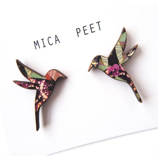 Mica Peet Hummingbird Earrings Hummingbird Bird Jewellery Studs (£12) ❤ liked on Polyvore featuring jewelry, earrings, studded jewelry, earrings jewelry and stud earrings
