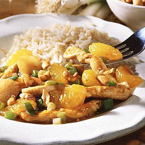 At last–a stir-fry recipe that's not loaded with MSG and other high-sodium ingredients. The vibrant flavor in this chicken dish comes from mandarin oranges, green onions, low-sodium soy sauce and fresh ginger. See our collection of Low-Sodium Recipes for more ways to reduce sodium in your diet.