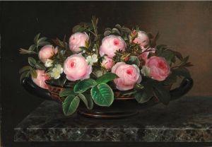 Pink roses in a Greek bowl - Johan Laurentz (J.L.) Jensen - The Athenaeum/ Trandafiri roz intr-un vas grecesc