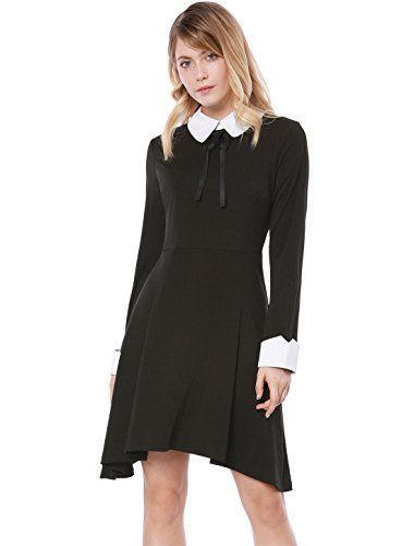 New Allegra K Women's Contrast Collar Irregular Hem Above Knee A Line Party Dress online. Enjoy the absolute best in Martildo Fashion Dresses from top store. Sku chwh39397vrxo61906