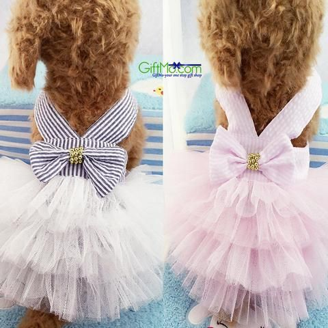 Cute Summer Pet Puppy Small Dog Cat Clothes Tutu Dress Princess Skirt Features: -100% brand new and high quality -Striped pattern well goes with mesh bottom -Lovely design, and good touch feel, your p