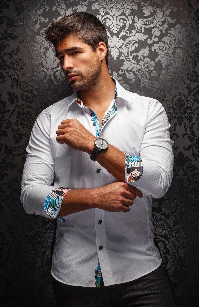 Au Noir White Fashion Shirt For Men With Fine Jacquard