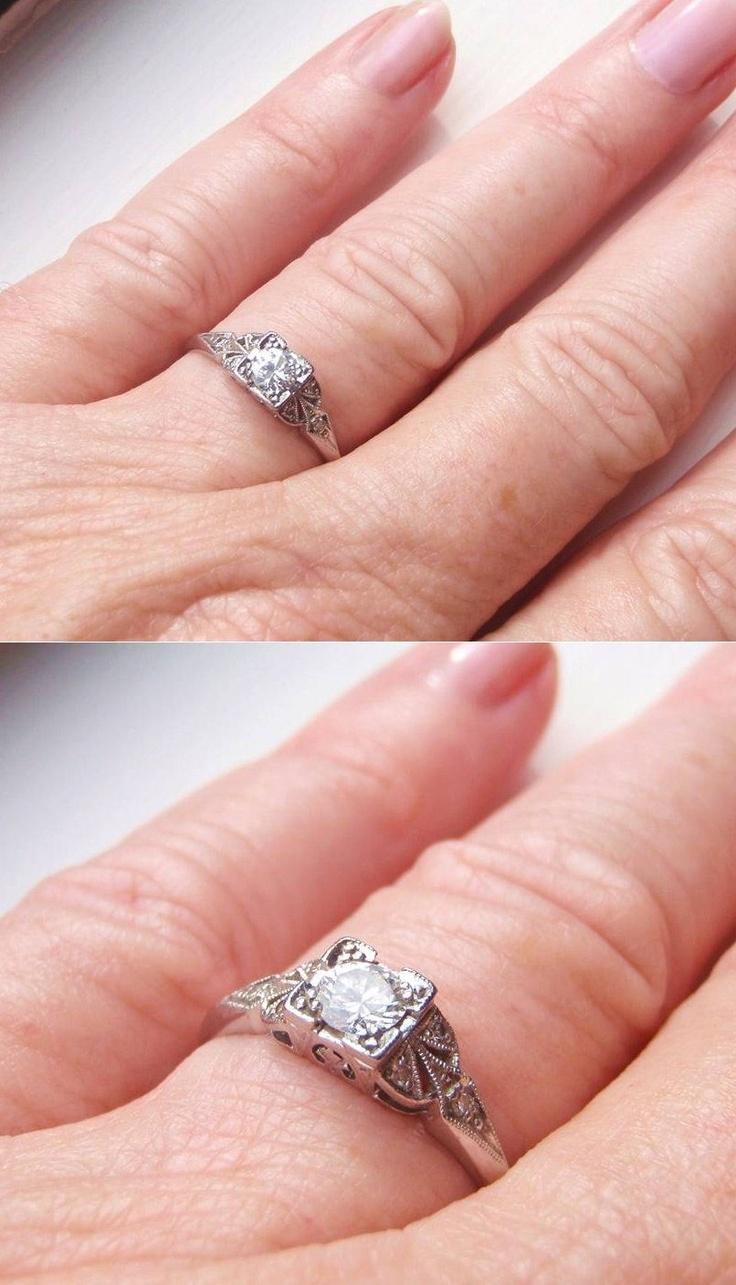Art Deco Engagement Ring Quality Platinum And Diamonds  Handmade Gorgeous Piece Of History