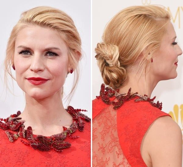 Claire Danes Braided Chignon At Emmy Awards 2017