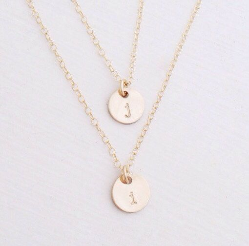 Personalized Double Gold Disc 14k Gold Filled Initial by edenzoe