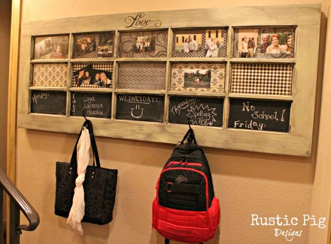 This is SOOOOOOO cool!  An old door turned into a message center; hang back packs or purses, display pictures!  I would love to find one of these!