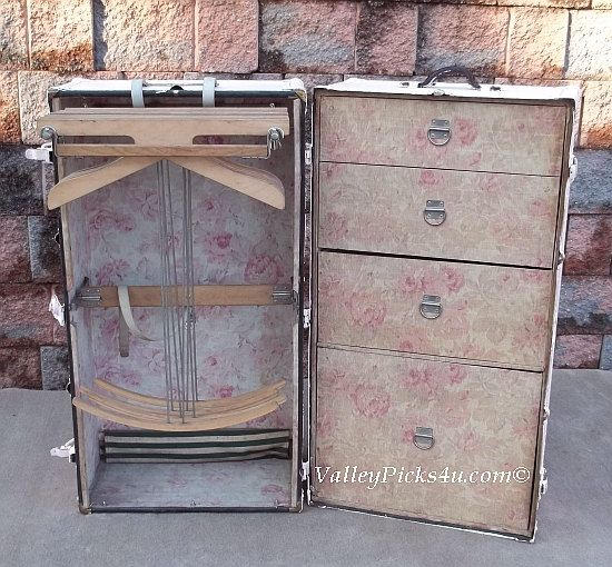 OMG Shabby Pink ROSE Chic Steamer Wardrobe Vintage Fashion Clothing TRUNK Chest. $745.00, via Etsy.