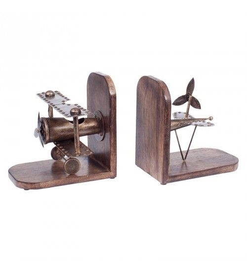 S_2 METAL_WOODEN AIRPLANE BOOKEND IN BRASS  COLOR 40(20)X13X20