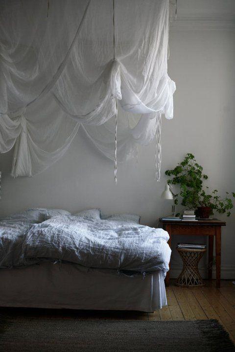 "fun diy take on a ""four poster"" bed!  (6) home decor | Tumblr"
